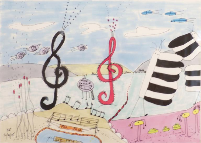 Kaye Johnston: Treble Clef Bugs, Piano Bugs, Space Vehicles & Long Haired Bugs