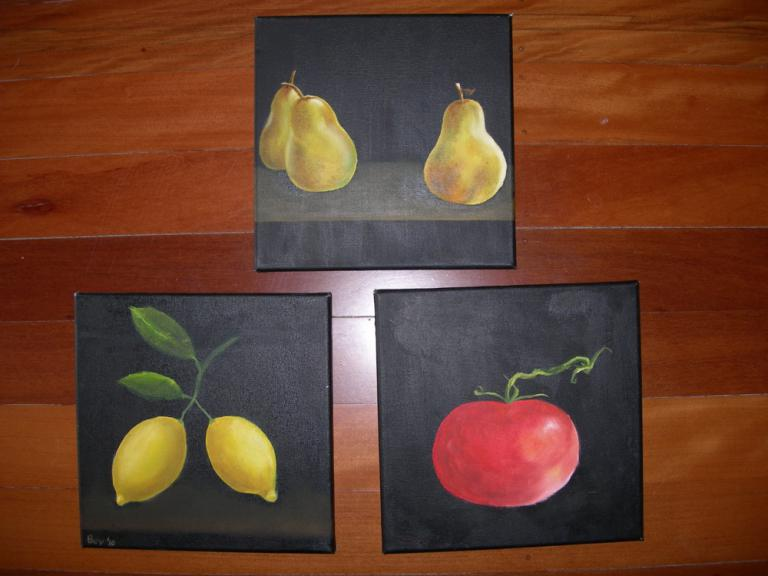 Beverley Exley: Still life fruit in oils (set of three)