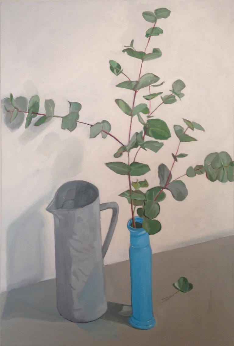 Deborah Hunter Mills: Eucalytpus and Turquoise Vase