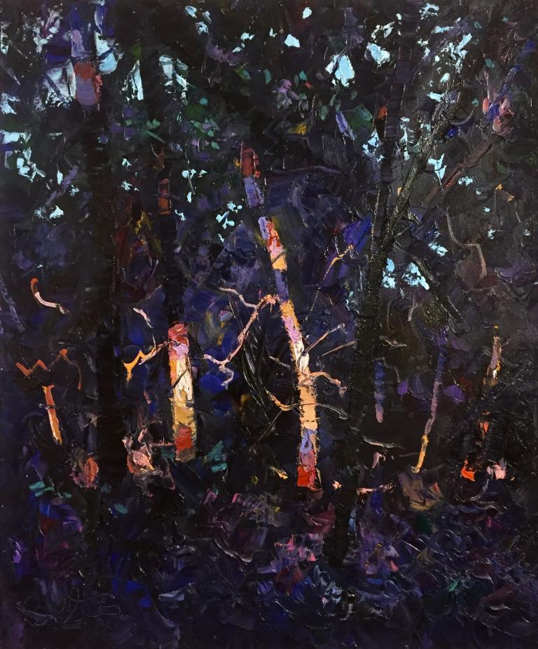 Keith Betts: Tree Trunks at Dusk